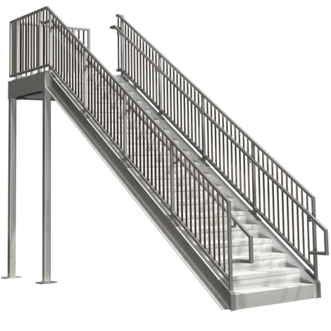 Prefabricated Commercial Stairs 12ft