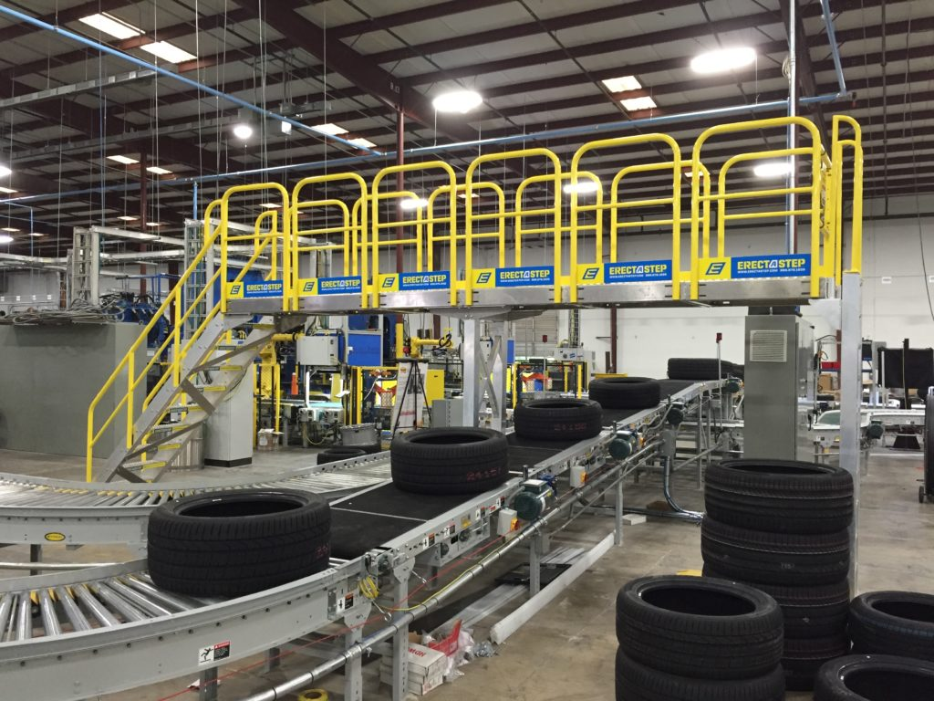 Erectastep industrial crossover platform in distribution facility