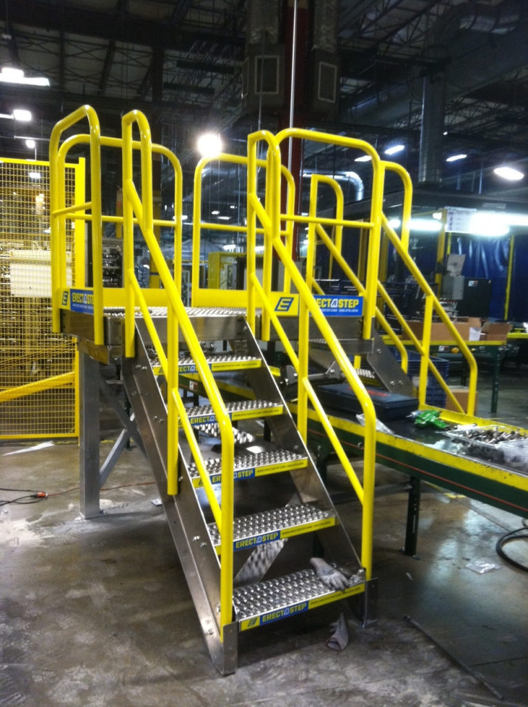 Erectastep tstech industrial crossover stairs conveyor